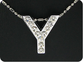 15x3mm Character **Y** White Topaz Pendant