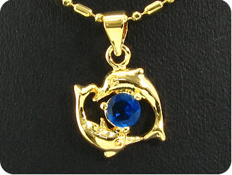 6mm Royal Blue Sapphire Dolphin Gold Pendant