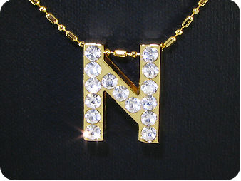 15x3mm Character **N** Topaz Gold Pendant