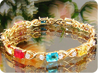 Elegant 9x7mm Multicolor Gems Stone Gold Bracelet