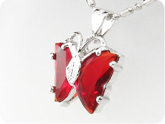Alluring 2 x 14mm Red Rubies Butterfly Pendant Necklace