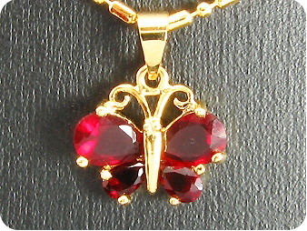 5~7mm Red Rubies Butterfly Pendant