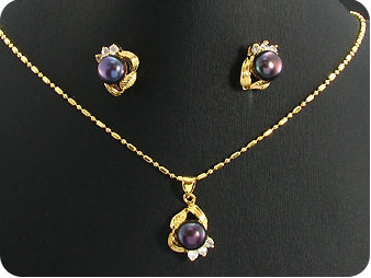 3x8mm Black Pearl Topaz Gold Pendant Earrings Set