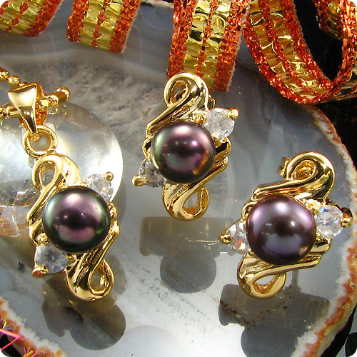 3x7mm Black Pearl Pendant Earrings Set