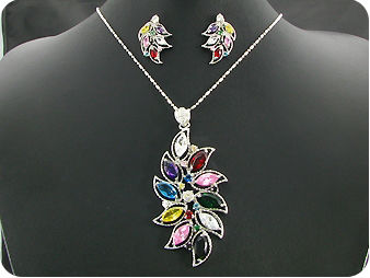 23x12~4mm Multicolor Topaz Leaves Pendant Earrings Set
