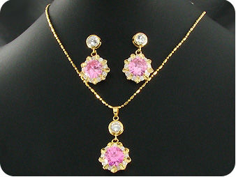 3x12mm Pink Sapphire Pendant Earrings Set