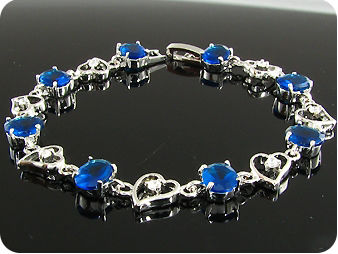8x8mm Royal Blue Sapphire White Topaz Oval Cut Bracelet