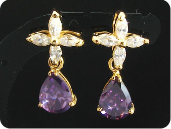 2x9mm Purple Amethyst Earrings