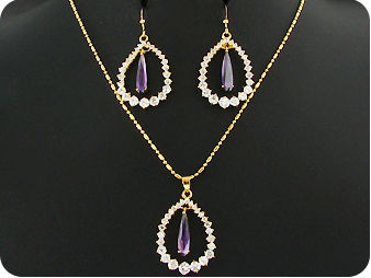 3 x 17mm Purple Amethysts Gold Pendant Earrings Set