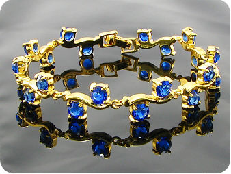 20x5mm Royal Blue Sapphire Round Gold Style Bracelet
