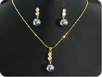 12mm  Pearl Topaz Pendant Earrings Set