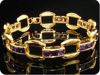 24 x 5mm Purple Amethysts Bracelet