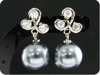 2x12mm Black Fresh Water Pearl 6x4mm Topaz Earrings