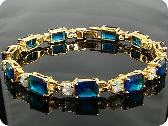 11x9mm Royal Blue Sapphire White Topaz Gold Bracelet