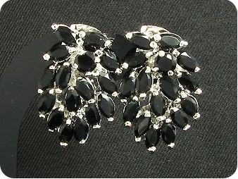 32 x 5mm Black Sapphires  Earrings