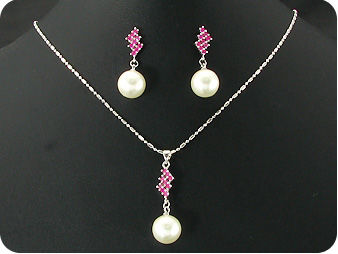 3x12mm White Pearl 27x3mm Red Ruby Pendant Earrings Set