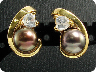 2x8mm Black Fresh Water Pearl Topaz Gold Earrings