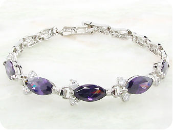 5 x 12mm Purple Amethysts Marquise Cut Bracelet