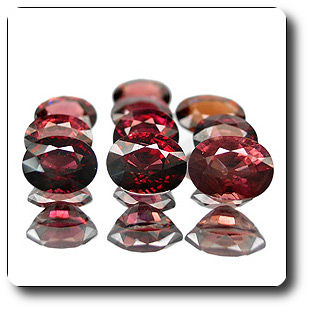 12.81ct 10pcs OVAL NATURAL RASPBERRY RED RHODOLITE GARNET
