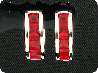 10x4mm Red Rubies  Earrings