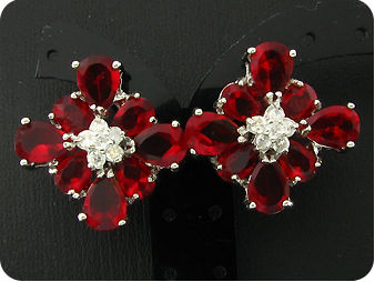 16 x 5~7mm Red Rubies White Topaz Earrings