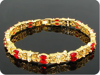 20x5mm Red Ruby Topaz Bracelet