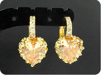2x9mm Orange Sapphires Earrings
