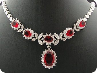 14x8-6mm Red Ruby Necklace