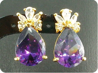 2 x 14mm Purple Amethysts Earrings