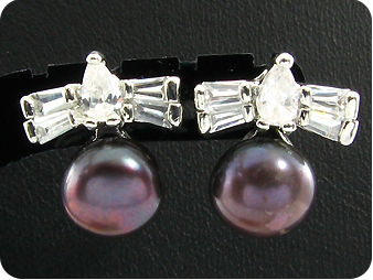 2x9mm Black Fresh Water Pearl White Topaz Earrings