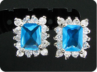 2x8mm Ocean Blue Sapphire Earrings
