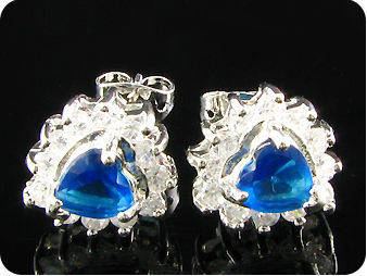 2x7mm Royal Blue Sapphire Topaz Earrings