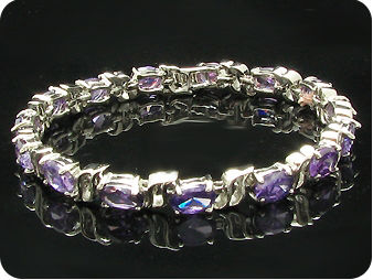 15 x 8mm Purple Amethysts Bracelet