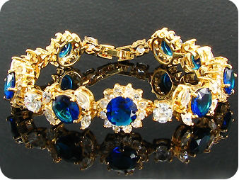 9x8mm Royal Blue Sapphire White Topaz Gold Bracelet