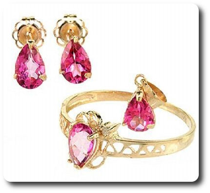 Pink Topaz + Diamond Gold 10 K Pendant Ring Earrings Set