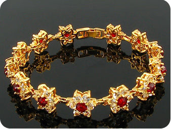 13x4mm Red Ruby White Topaz Bracelet