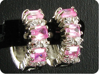 6x3mm Pink Sapphires Earrings