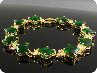 11 x 10mm Green Emeralds Topaz Gold Bracelet