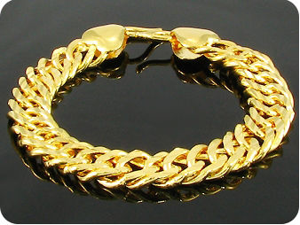 Engraving Pattern Link Style Quality Gold Men Bracelet