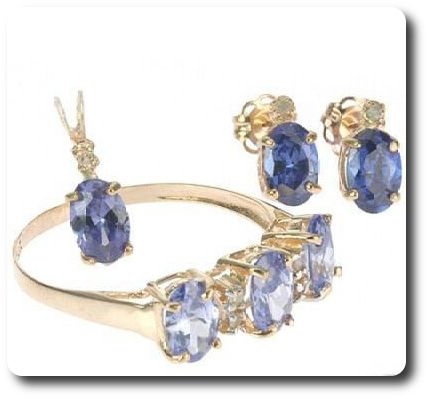 6 Tanzanite + 4 Diamond Gold 10 K Pendant Ring Earrings Set