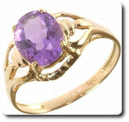 Amethyst Ring Solid 10 K Gold