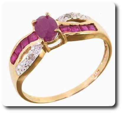 Ruby + Diamond Ring Solid 10 K Gold