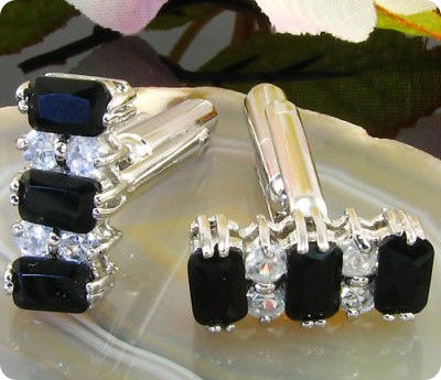 6x6 mm Black Sapphire White Gold Plated 18 K Cufflinks