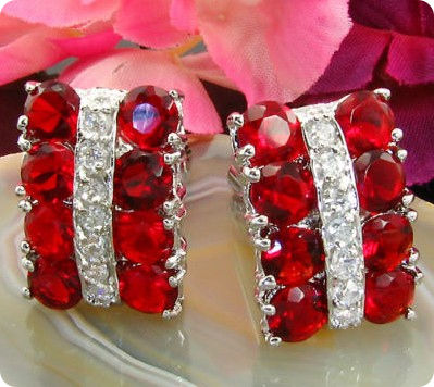 16x5 mm Red Ruby White Gold Plated 18 K Cufflinks