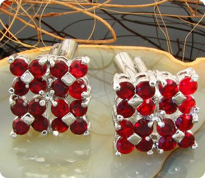 32x2 mm Red Ruby White Gold Plated 18 K Cufflinks