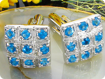18x4 mm Blue Sapphire White Gold Plated 18 K Cufflinks