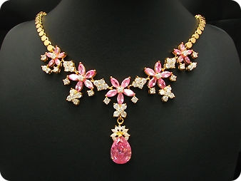 26x6-18mm Pink Sapphire Necklace
