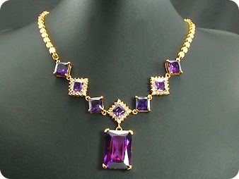 8x28-10mm Amethyst Necklace