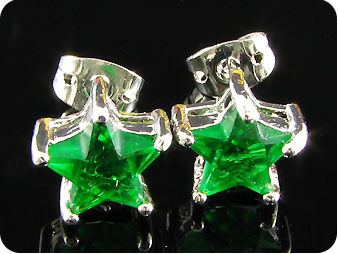 2x8mm Green Emerald Earrings