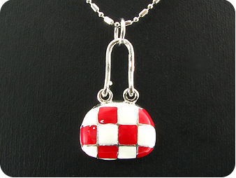 Red and White  Porcelain Pendant